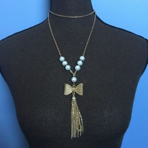 NY & Co. Bow Tassel Pearl Statement Necklace